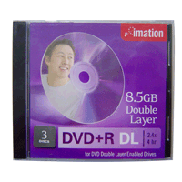 DVD+R Imation Lacrado 8.5GB(2.4x) (Dual Layer) - 3 unidades